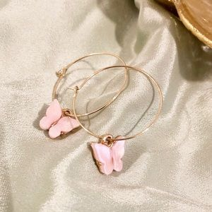 Gold butterfly hoops - Pink